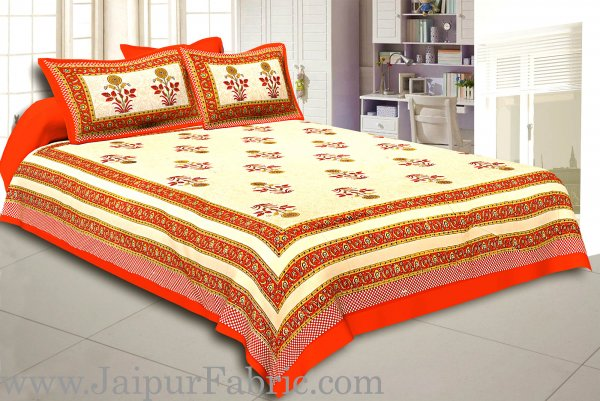 Orange Border Cream Base Floral  Print Super Fine Cotton Double Bed Sheet