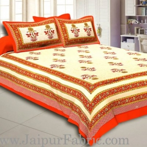 Orange Border Creame Base Floral  Print Super Fine Cotton Double Bedsheet