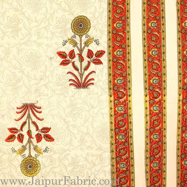 Orange Border Creame Base Floral  Print Super Fine Cotton Double Bedsheet