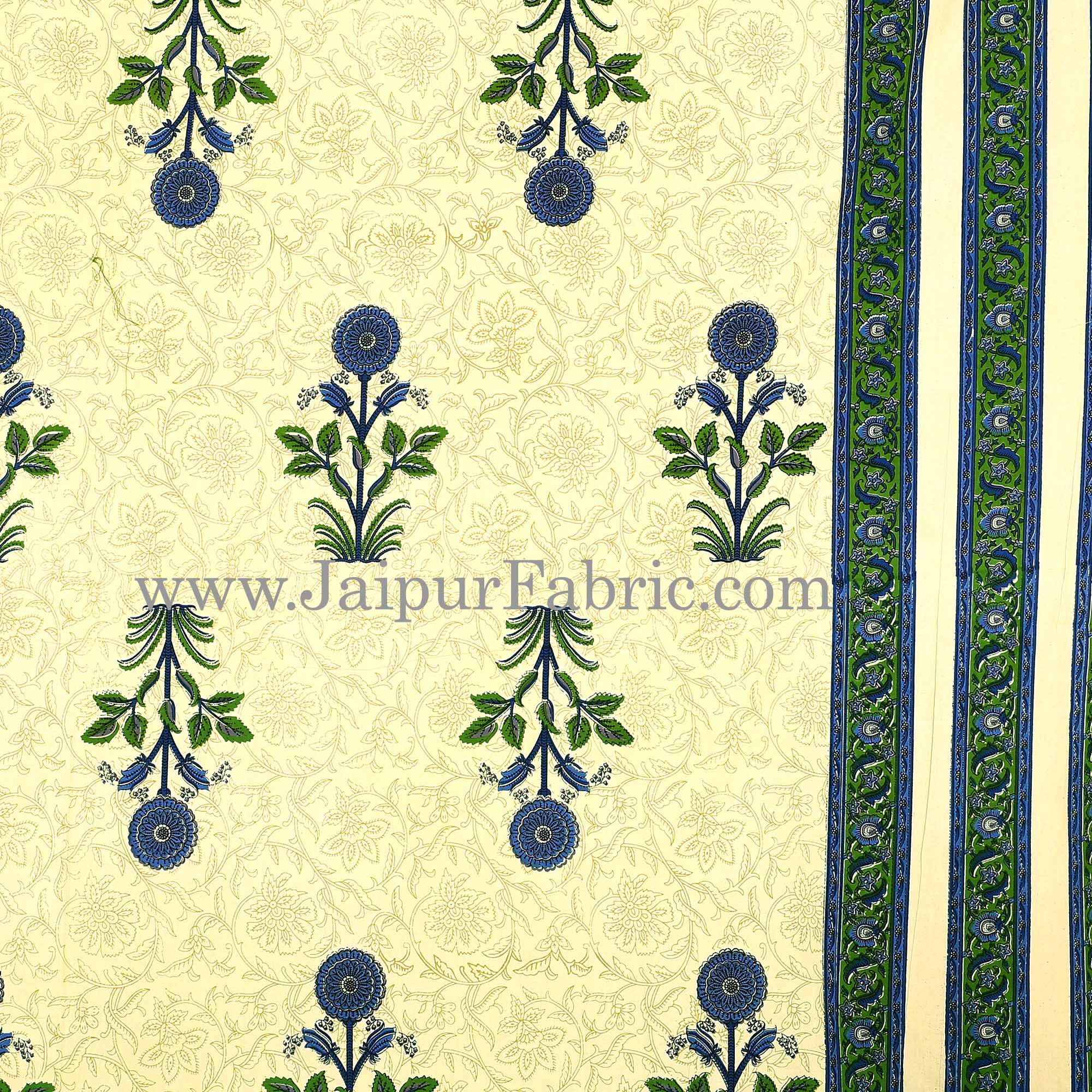 Green Border Cream Base Floral  Print Super Fine Cotton Double Bed Sheet