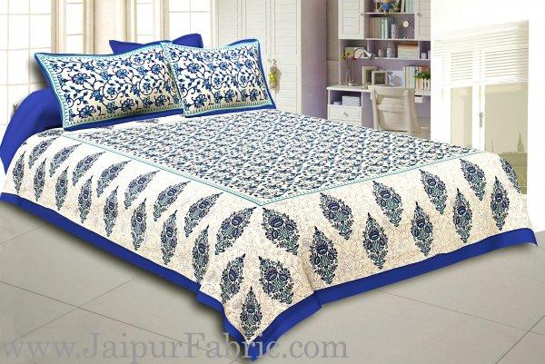 Blue Border Tropical keri Design Cotton Double Bed Sheet