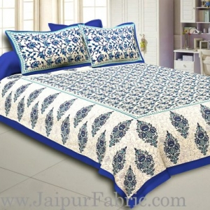 Blue Border Tropical keri Design Cotton Double Bed Sheet
