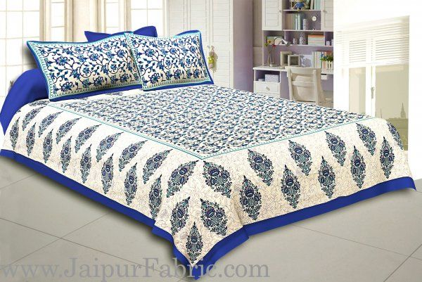 Wholesale Blue Border Tropical keri Design Cotton Double Bed Sheet