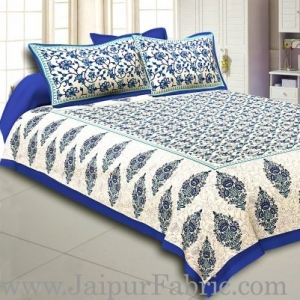 Wholesale Blue Border Tropical keri Design Cotton Double Bed Sheet