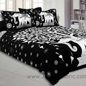 Double Bedsheet With Big Elephant And Tree Pattern Two Pillow