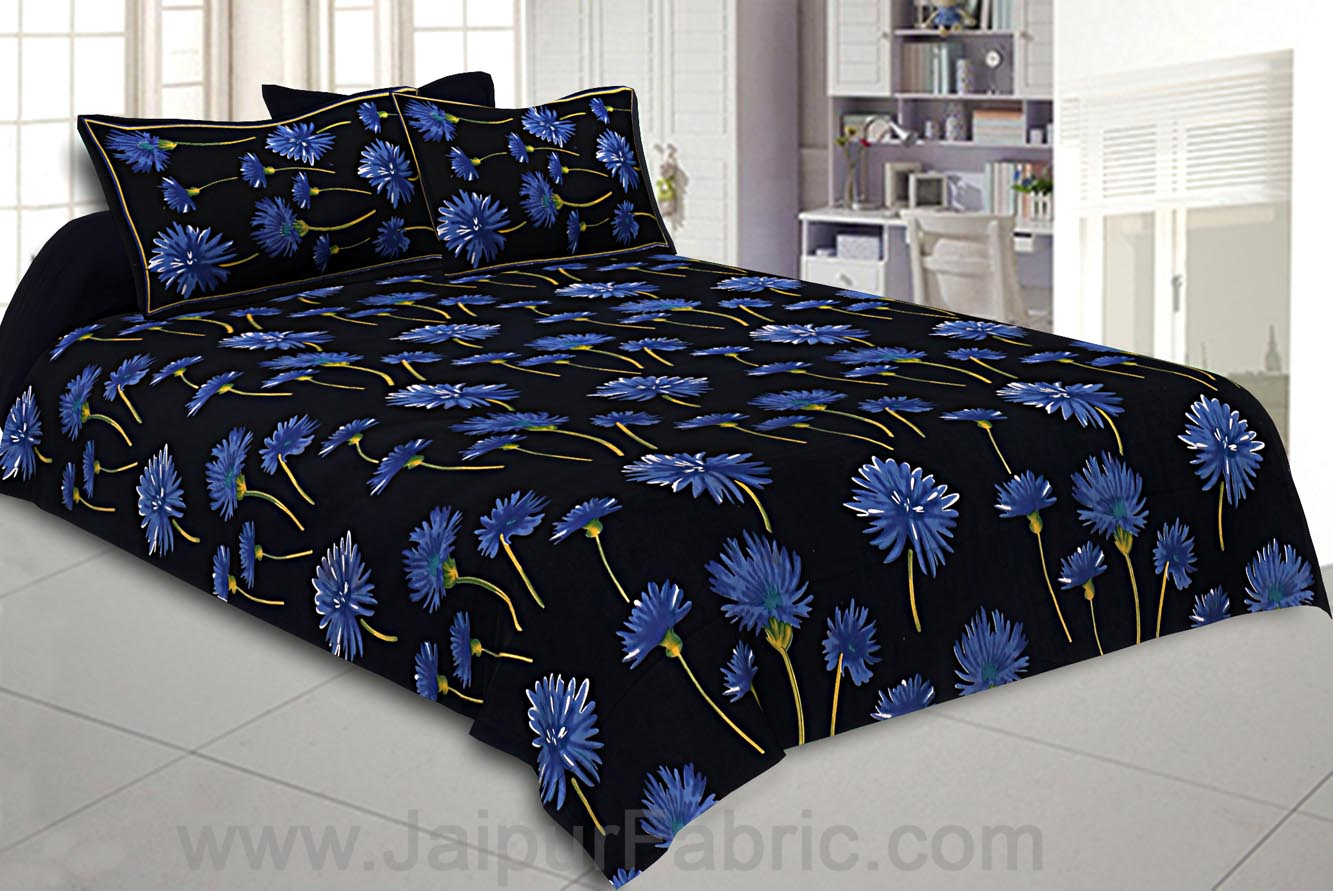 Sun Flower Double Bedsheet Black Color With 2 Pillow covers