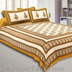Brown Border creame Base Sanganeri Print Super Fine Cotton Double Bed Sheet