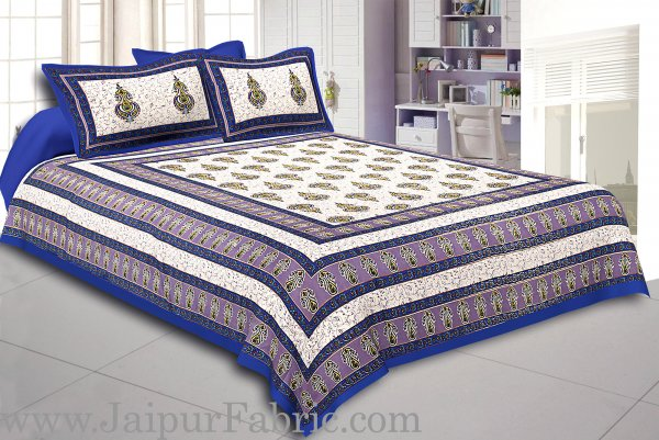 Blue Border Creame Base Sanganeri Print Super Fine Cotton Double Bedsheet