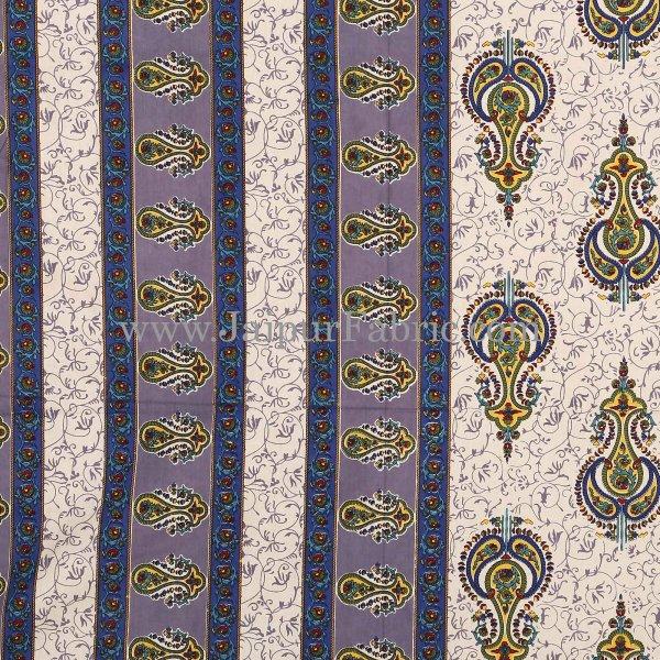 Blue Border Creame Base Sanganeri Print Super Fine Cotton Double Bedsheet