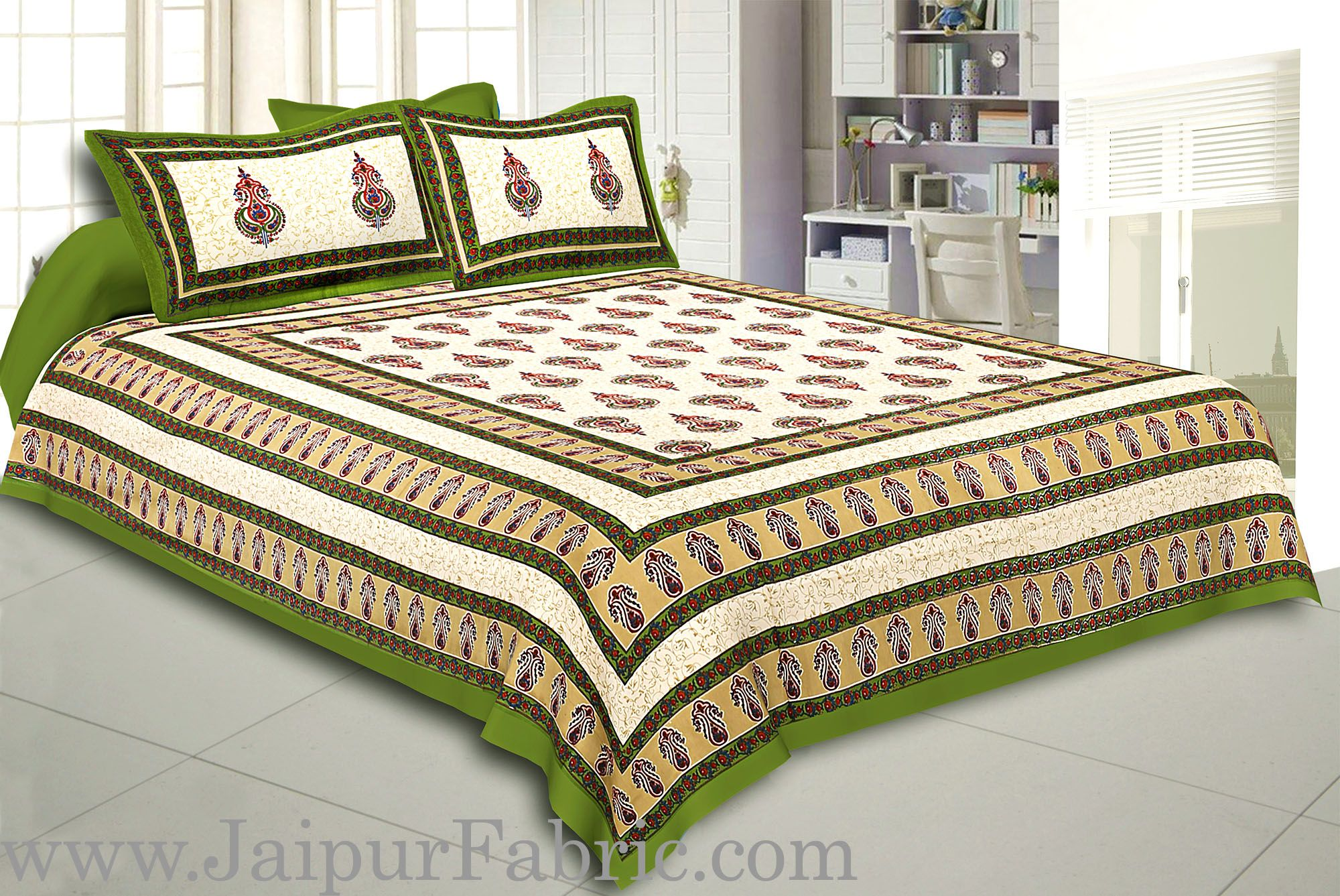 Green Border Cream  Base Sanganeri Print Super Fine Cotton Double Bedsheet