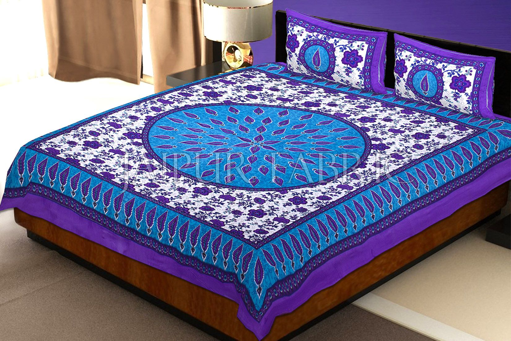 Purple and Blue Border with White Base Floral Print Cotton Double Bed Sheet