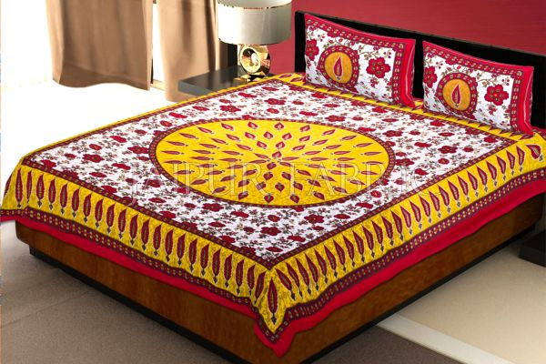 Red and Yellow Border with White Base Floral Print Cotton Double Bed Sheet