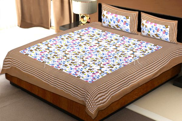 Brown Checkered Border Floral Print Cotton Double Bed Sheet