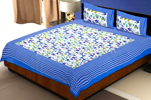 Blue Checkered Border Floral Print Cotton Double Bed Sheet