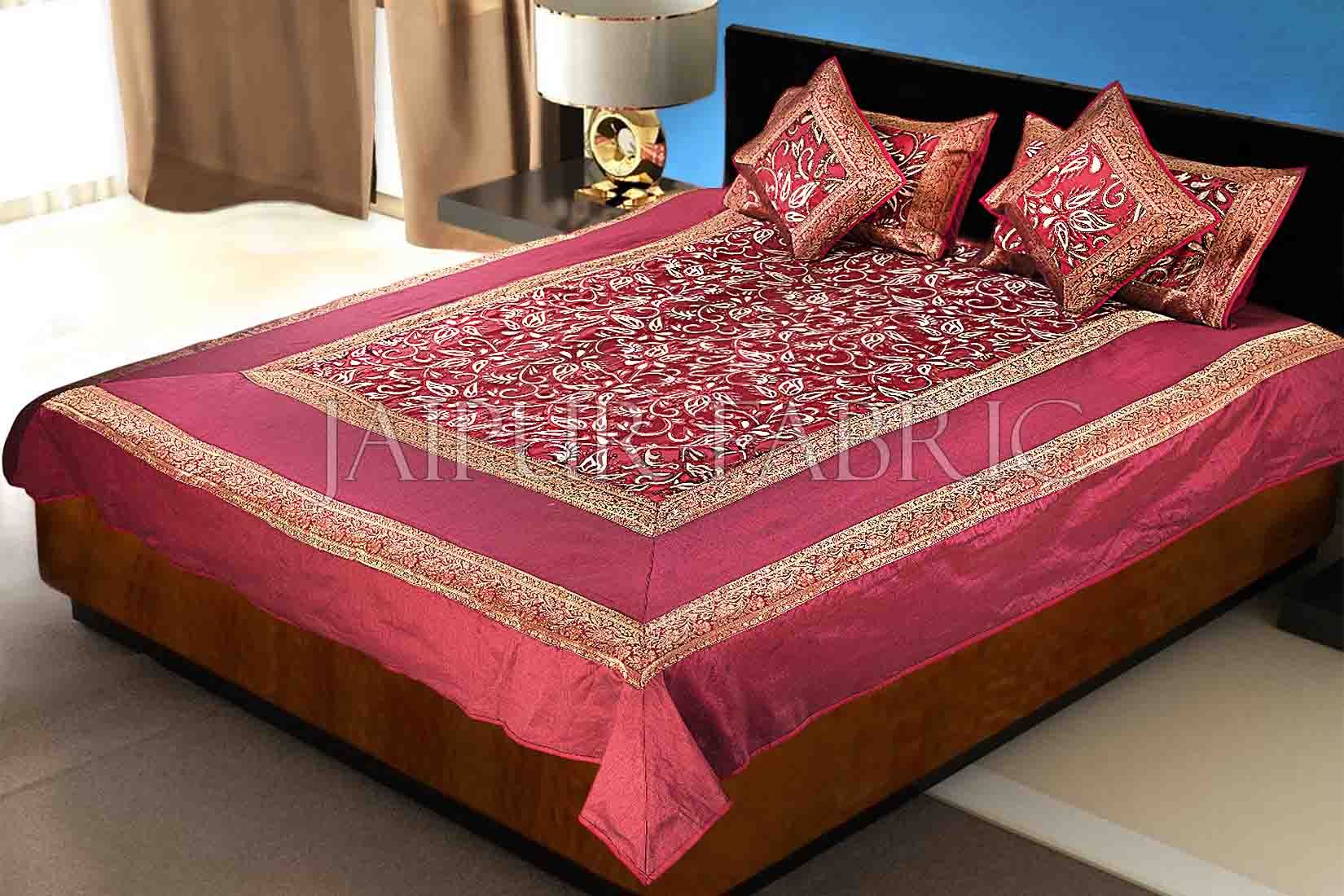 Maroon Base With Golden Patchwork Cotton Satin Double Bed Sheet