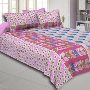 Pink and Blue Floral Print Cotton Double Bed Sheet