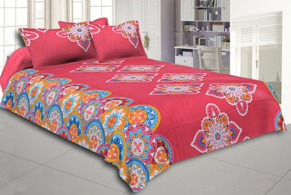 Red Base Multi Color Rangoli Print Cotton Double Bed Sheet