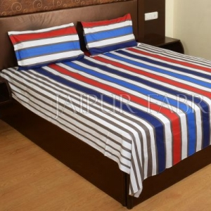 Red and Blue Vertical Striped Cotton Double Bed Sheet