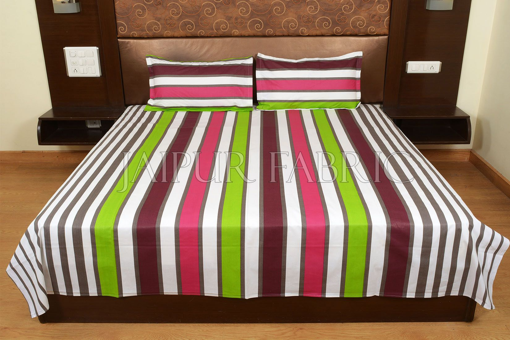 Green and Maroon Vertical Striped Cotton Double Bed Sheet
