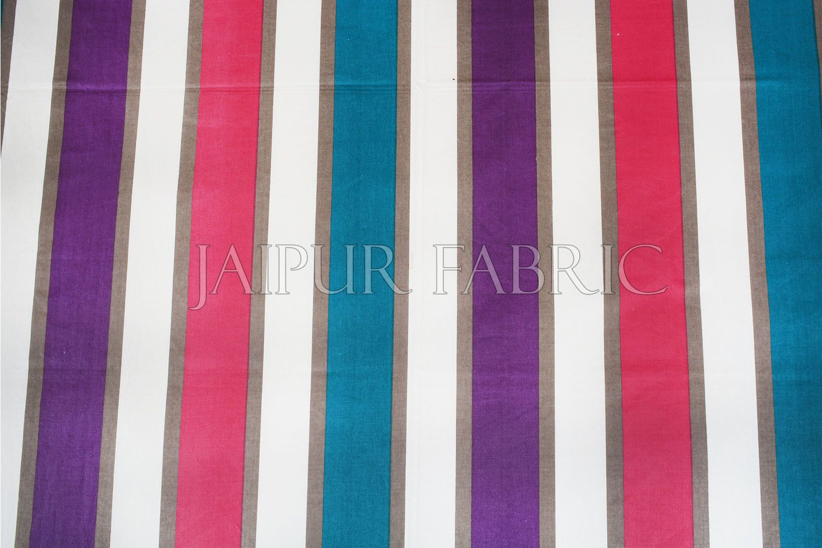 Pink and Purple Vertical Striped Cotton Double Bed Sheet