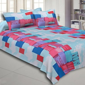 Pink and Blue Modern Design Cotton Double Bed Sheet
