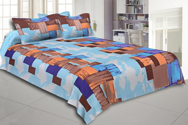Brown and Purple Modern Design Cotton Double Bed Sheet