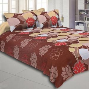 Brown Base Floral Print Designer Cotton Double Bed Sheet