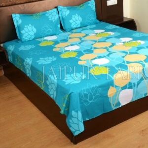 Blue Base Floral Print Designer Cotton Double Bed Sheet