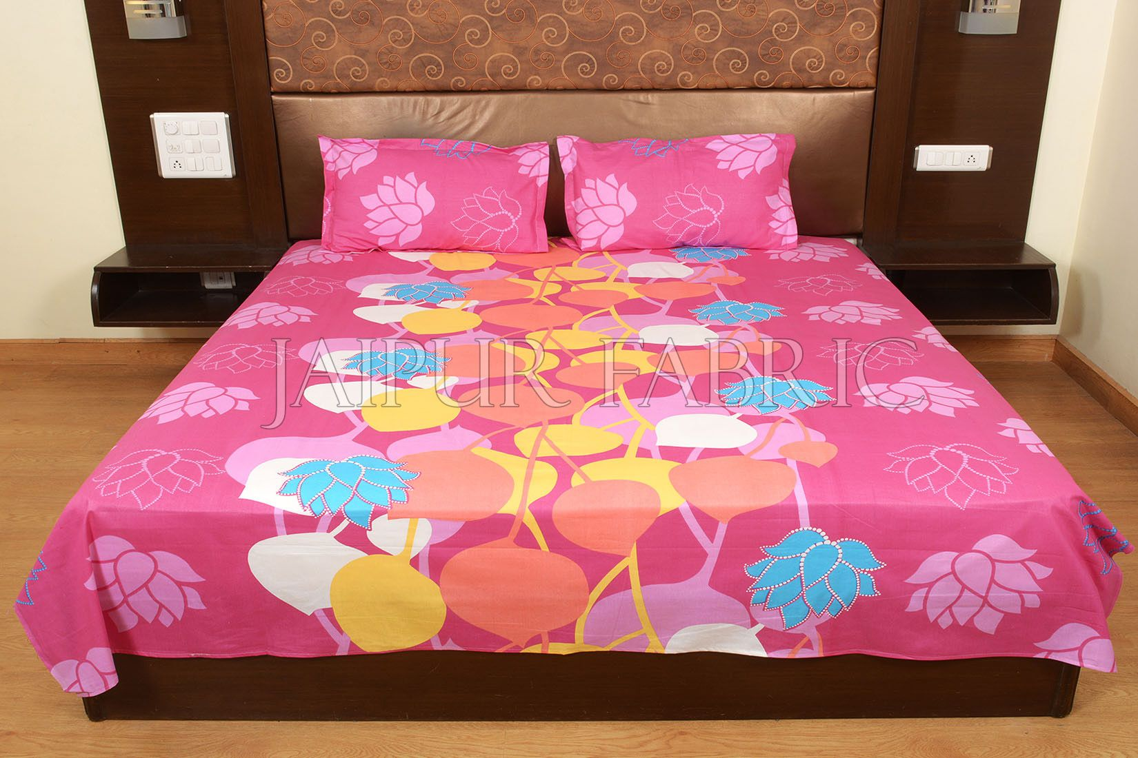 Pink Base Floral Print Designer Cotton Double Bed Sheet