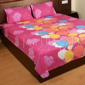 Pink Base Floral Print Designer Cotton Double Bed Sheet