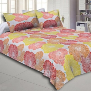 Yellow and Orange Floral Designer Cotton Double Bed Sheet