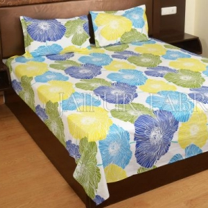 Yellow and Blue Floral Designer Cotton Double Bed Sheet