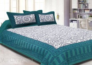 Animal Print Turquoise Cotton Double Bed Sheet