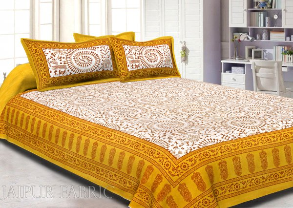 Animal Print Yellow Cotton Double Bed Sheet