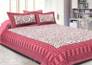 Animal Print Pink Cotton Double Bed Sheet
