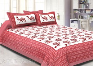 Pink Camel Print Cotton Double Bed Sheet