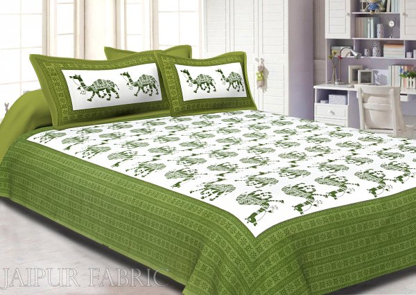 Green Camel Print Cotton Double Bed Sheet