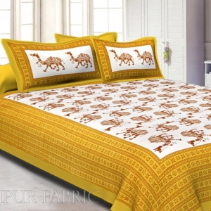 Yellow Camel Print Cotton Double Bed Sheet