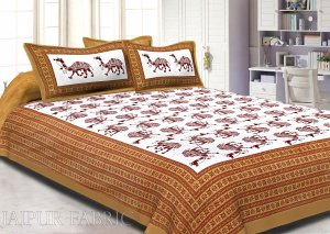 Brown Camel Print Cotton Double Bed Sheet
