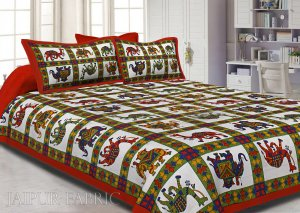 Orange Border Rajasthani Pattern Printed Cotton Double Bed Sheet