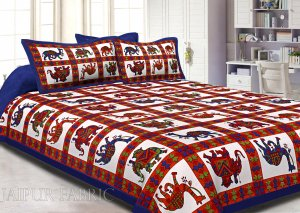 Blue Border Rajasthani Pattern Printed Cotton Double Bed Sheet