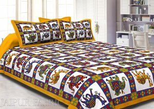 Yellow Border Rajasthani Pattern Printed Cotton Double Bed Sheet