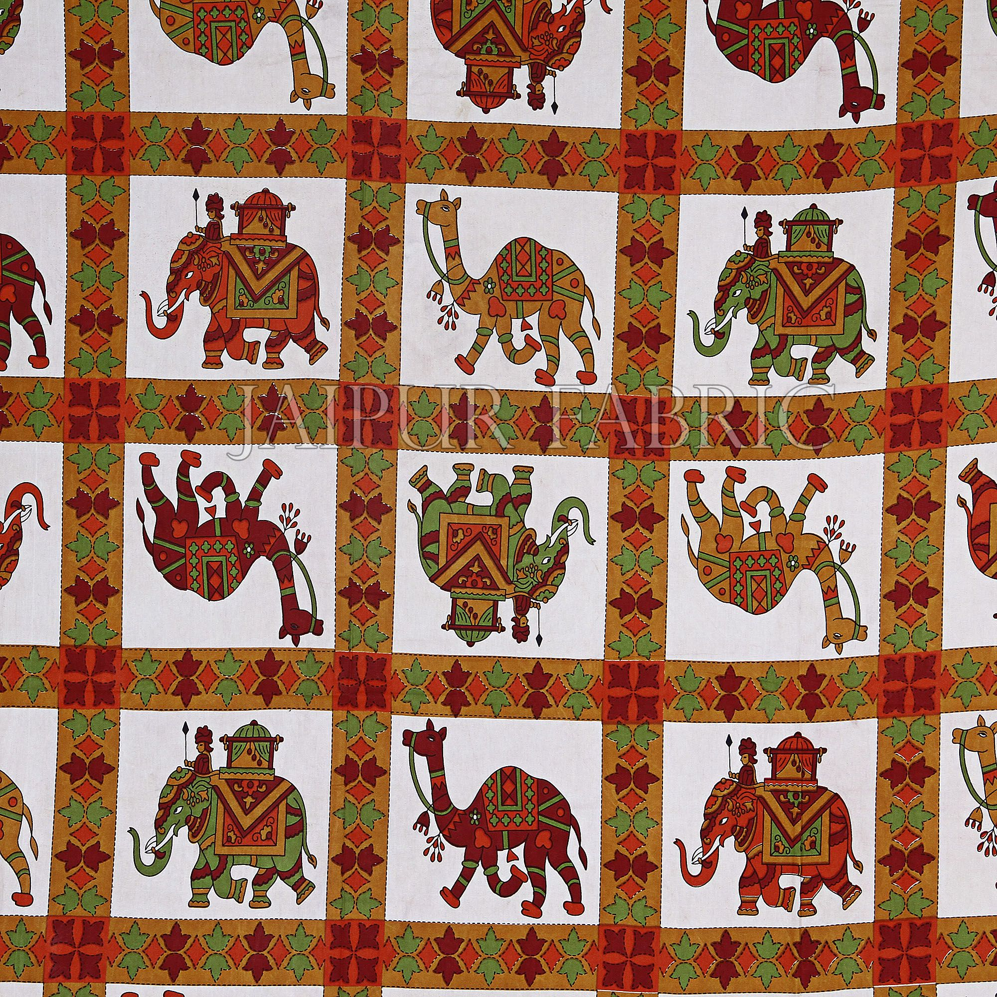 Maroon Border Rajasthani Pattern Printed Cotton Double Bed Sheet