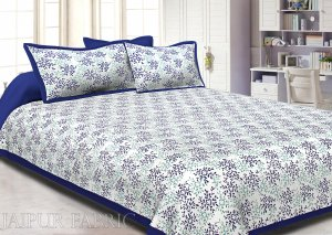 Blue Border Floral Printed Cotton Double Bed Sheet