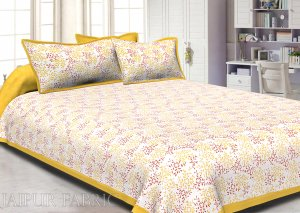 Yellow Border Floral Printed Cotton Double Bed Sheet