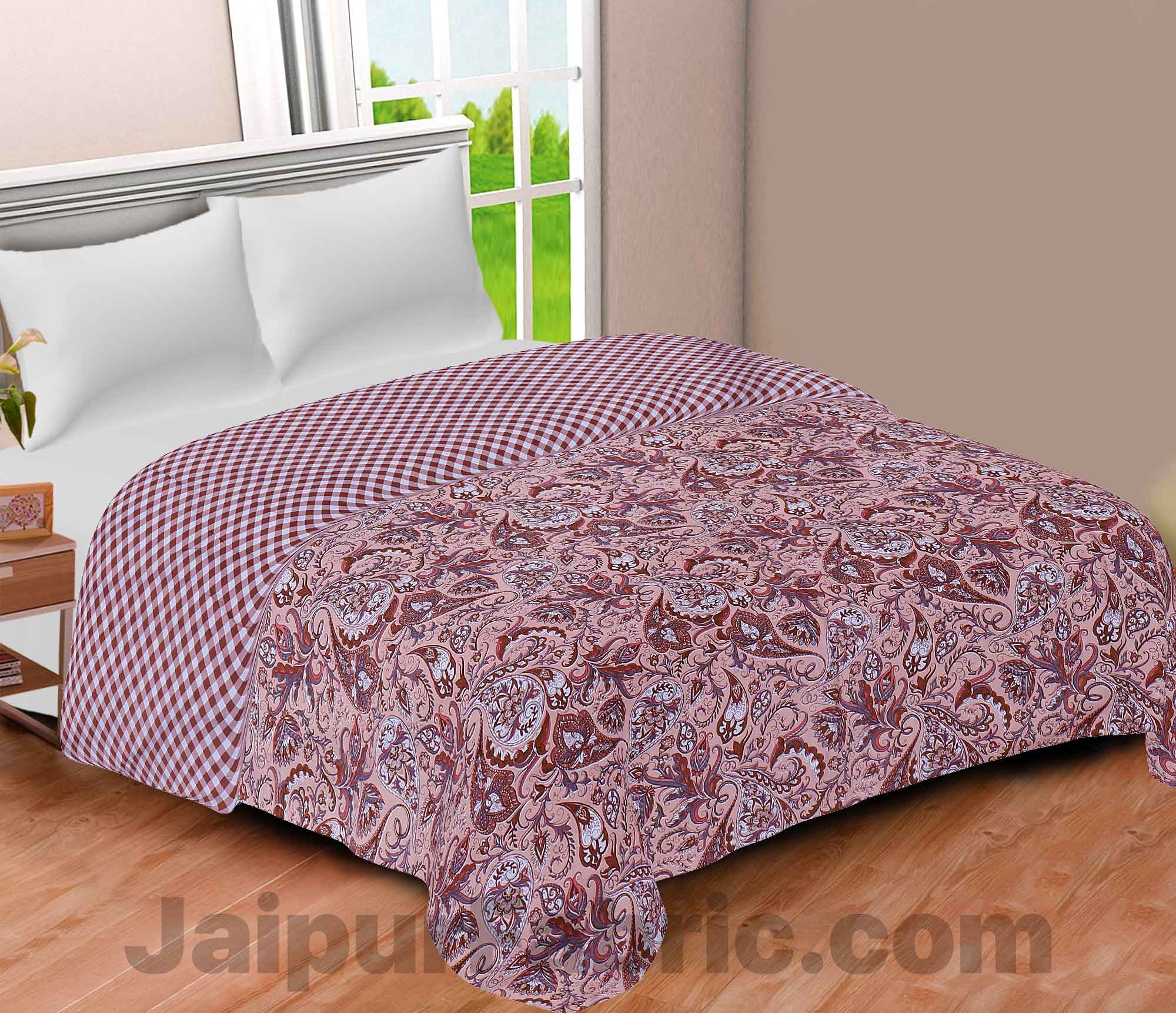 Pure Cotton Ethnic Print Reversible Double Bed Blanket/ Duvet/Quilt/AC Dohar