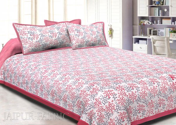 Pink Border Floral Printed Cotton Double Bed Sheet