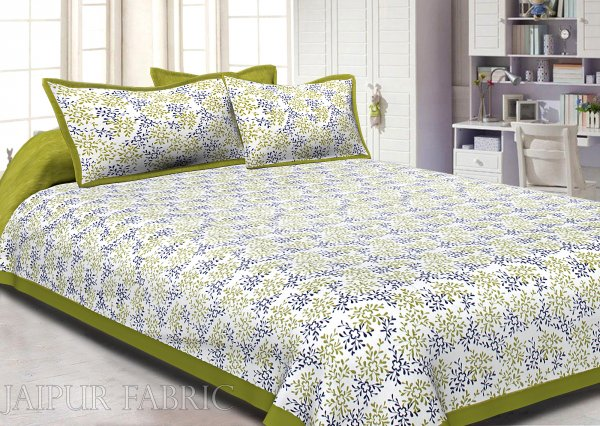 Green Border Floral Printed Cotton Double Bed Sheet