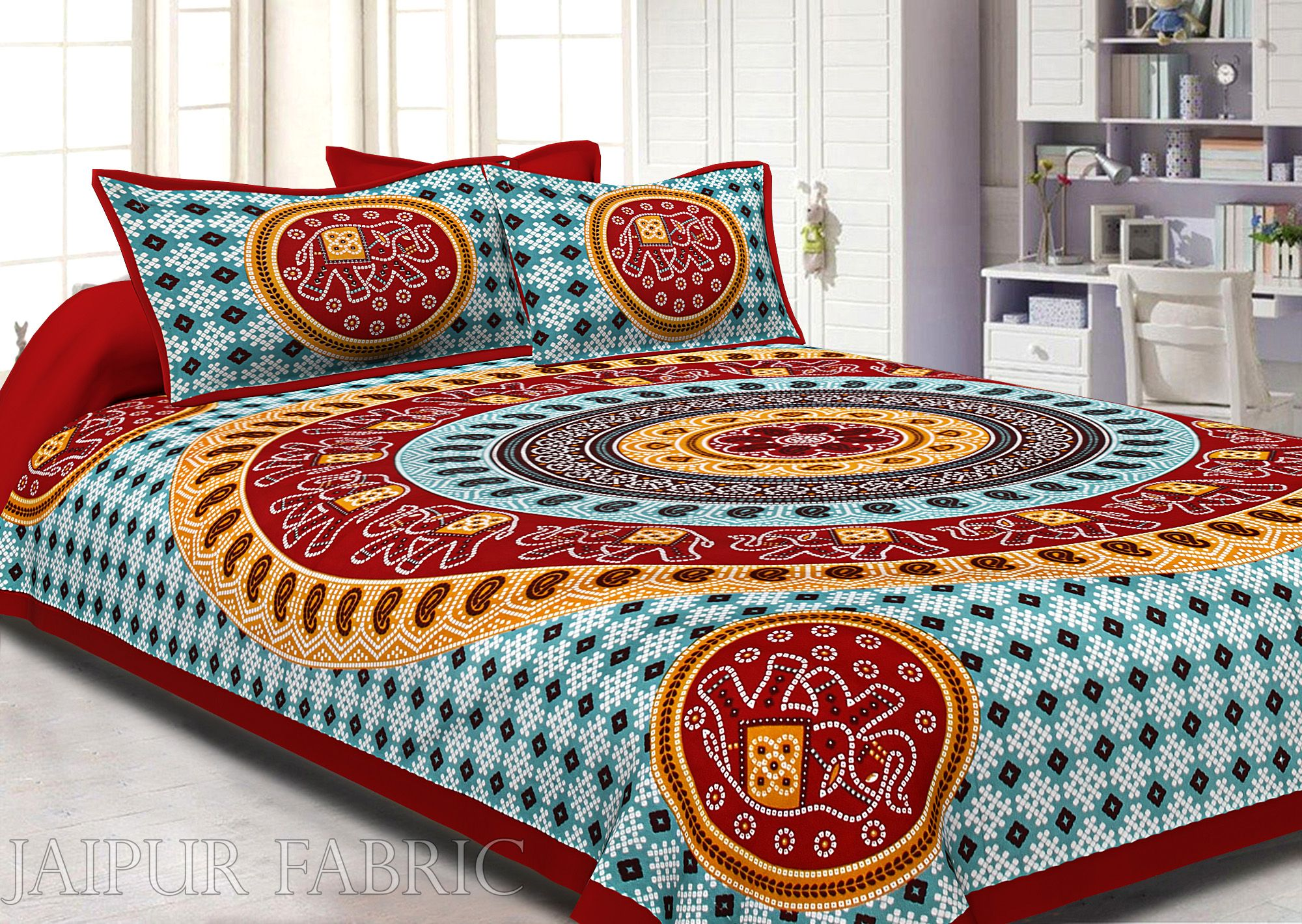 Red Border Jaipuri Rajasthani Bandhani Print Cotton Double Bed Sheet