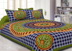 Green Border Jaipuri Rajasthani Bandhani Print Cotton Double Bed Sheet